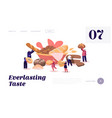 people eating and cooking bakery website landing vector image vector image