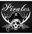 Pirate theme with skull and swords vector image