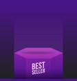 podium best seller violet mockup flat scene vector image vector image