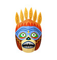 prehistoric african mask with toothy mouth on vector image vector image