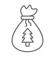 santas bag thin line icon christmas and gift vector image vector image