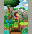 scene with boy catching insects in garden vector image vector image