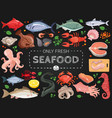 seafood colorful chalkboard menu poster vector image vector image