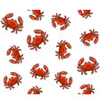 seamless crab cartoon style pattern on white vector image