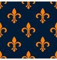 Seamless orange fleur-de-lis floral pattern vector image vector image