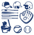 set of baseball design elements baseball beats vector image vector image