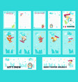 Set of cards with cute snowboarding animals