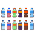 set of isolated water and soda bottle icon on vector image