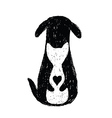 silhouette icon cat and dog friendship vector image