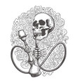 skull with hookah in a smoke clouds vector image vector image