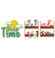 sleep time sign with many kids in bed vector image vector image