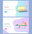tanning and body wrap beauty services salon page vector image vector image