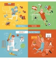 Team sport flat icons square banner vector image