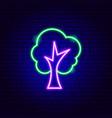 tree neon sign vector image vector image