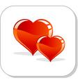 two hearts symbol vector image vector image