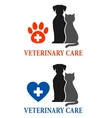 two signs with pet silhouette vector image vector image