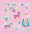 unicorn multicolor stickers with cake sweets ice vector image vector image
