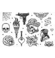 vintage tattoo designs collection vector image vector image