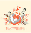 vintage valentines day card with cats vector image vector image