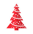 winter red christmas tree icon flat style garlands vector image