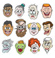 colorful doodle faces set vector image
