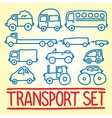 Hand drawn cartoon transport set vector image