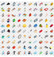 100 habits icons set isometric 3d style vector image vector image