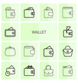 14 wallet icons vector image vector image