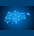 abstract blue background with map internet line vector image