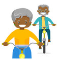 an old couple riding bikes vector image