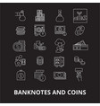 banknotes and coins editable line icons set vector image vector image