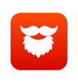 beard and mustache icon digital red vector image vector image