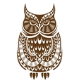 Brown owl with decorative ornament vector image vector image