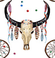 Buffalo Skull Dreamcatcher Feather pattern vector image vector image