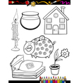 cartoon home objects coloring page vector image