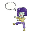 cartoon zombie girl with thought bubble vector image