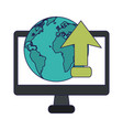 computer upload internet cloud computing vector image vector image