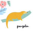 cute pangolin on branch rare species animals vector image