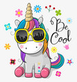 cute unicorn with sun glasses vector image