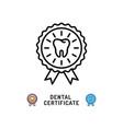 dental certificate icon care award symbols vector image