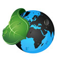 earth and green leaf vector image