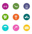 excursion icons set flat style vector image vector image