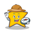 explorer star character cartoon style vector image vector image