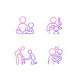 family bonding time gradient linear icons set vector image vector image