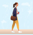 female walking with reusable coffee cup vector image vector image