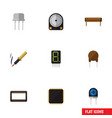 flat icon appliance set of cpu display bobbin vector image vector image