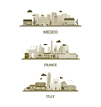 France Italy and Mexico vintage skyline vector image
