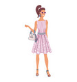glamorous fashion lady standing on white backdrop vector image vector image