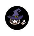 grumpy cat in witch costume sticker halloween vector image vector image
