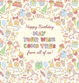 Happy birthday party invitation with hand drawn vector image vector image